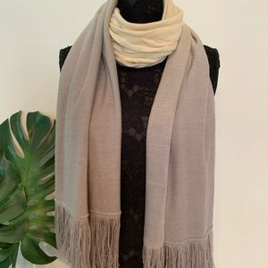 Soft Ombré Cream to Gray Fringe Scarf